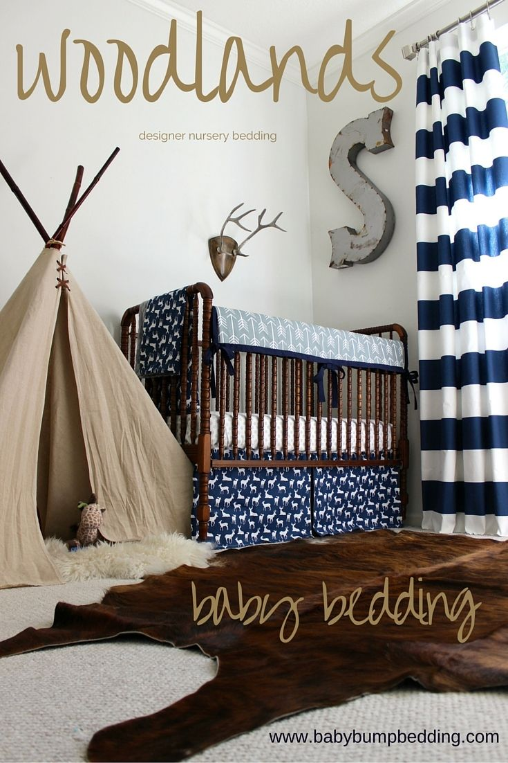 Adventure themed nursery. Woodlands baby boy bedding. Deer baby bedding. Designer baby bedding. Handmade baby bedding. Custom crib rail cover or baby bumper, designer baby blanket, crib skirt, fitted crib sheet, window panels, wall art, changing pad cover and custom monogramming. Create your own baby bedding set. Design your own baby bedding. Baby boy bedding sets.