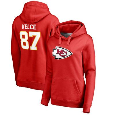 Women's Kansas City Chiefs Travis Kelce NFL Pro Line by Fanatics Branded Red Player Icon Name & Number Pullover Hoodie