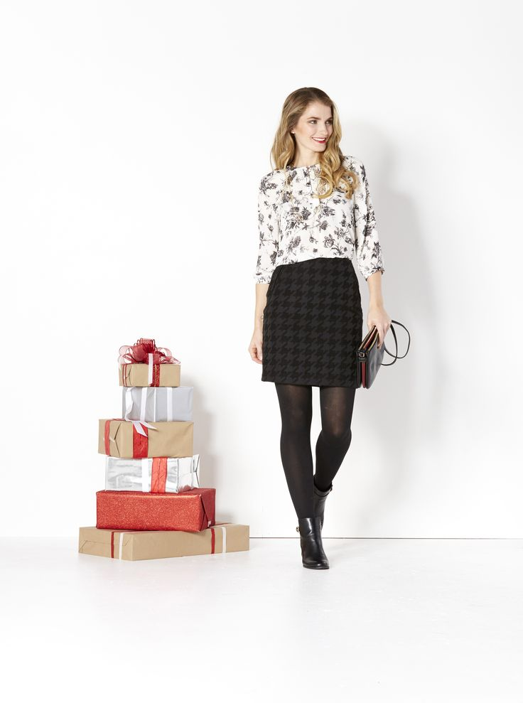Party Perfect. Give her the gift of style. Wrap up a chic blouse, must-have skirt and long necklace and she's ready for the office party, date night or an evening with friends. Complete the look with a great pair of boots.