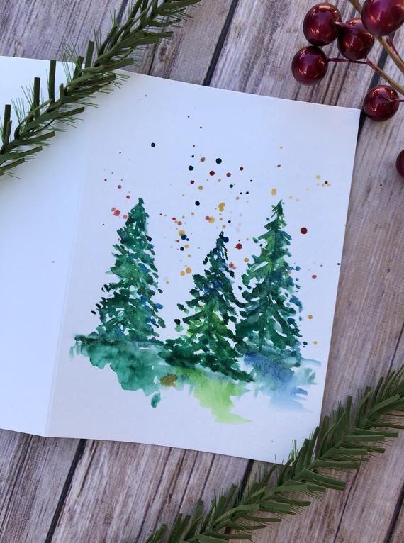 Lot de 5 cartes de Noël Noël cartes vacances cartes aquarelle