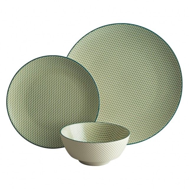 Featuring a lively, block-effect pattern, the green and white Brookland 12-piece dinnerware set makes a distinctive and colourful addition to a table.[br]Exclusive to Habitat, the set has a simple coupe shape and is made from stoneware, a strong, durable material that is suitable for everyday use.[br]The Brookland set comprises 4 dinner plates, 4 side plates and 4 cereal bowls, which are also available individually, together with a teacup and saucer. The range is also available in orange and…