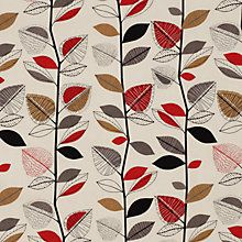 Buy John Lewis Autumn Leaves Curtain, Red Online at johnlewis.com