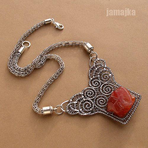 Necklace |  Jamajka Designs (Maria Rągowska?) Silver with raw agate.