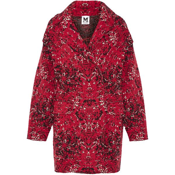 M Missoni - Oversized Jacquard-knit Wool-blend Coat (7.478.870 IDR) ❤ liked on Polyvore featuring outerwear, coats, claret, m missoni coat, oversized coat, jacquard coat, double-breasted coat and m missoni