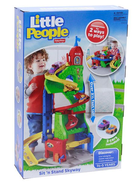 The Fisher Price Little People Stand & Sit Skyway transforms into two ways to play, including a 2.5 feet high mountain that the included two cars can race down. The three exits for the cars to take means it is always a surprise where they end up!
