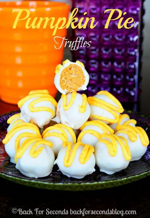 Easy Pumpkin Pie Truffles - Totally addicting and simple to make! @Back For Seconds #pumpkin Pie #pumpkinpietruffles #thanksgivingdessert