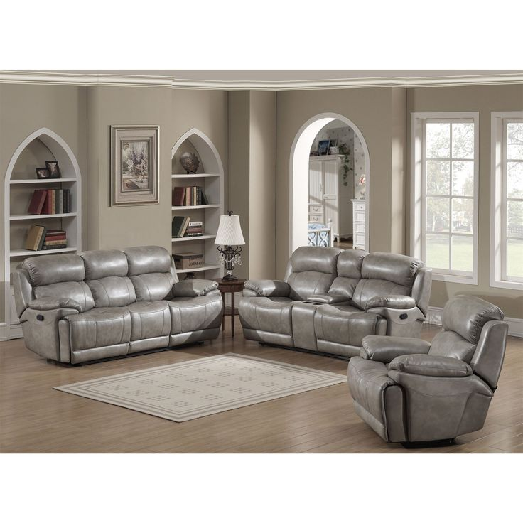 AC Pacific Estella Contemporary Reclining Sofa Loveseat with Storage Console and Glider Reclining Chair 3-piece Set
