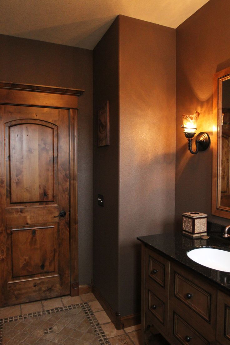 Interior Doors | Knotty Alder Two Panel Door With One Of Our Door Toppers,  Finishes Off This Cozy Powder Room | Bayer Built Woodworks, Inc. |  Pinterest ...