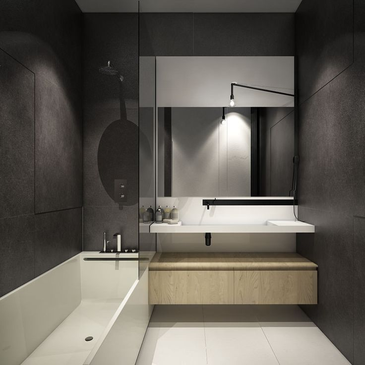 интерьер ванной комнаты в бело-серых тонах