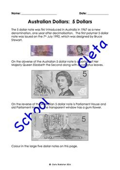 These pages are designed for a wide range of ages. Kids can colour in the coins and older kids can learn a little bit about what is on the coins as well as the introduction of them into Australia.This set of worksheets have both small and large images and are designed for young children to gain a basic familiarity about these dollar notes.These money worksheets have a page dedicated to each of the following:$5, $10, $20, $50 and $100.Please check out the rest of my worksheets in the…
