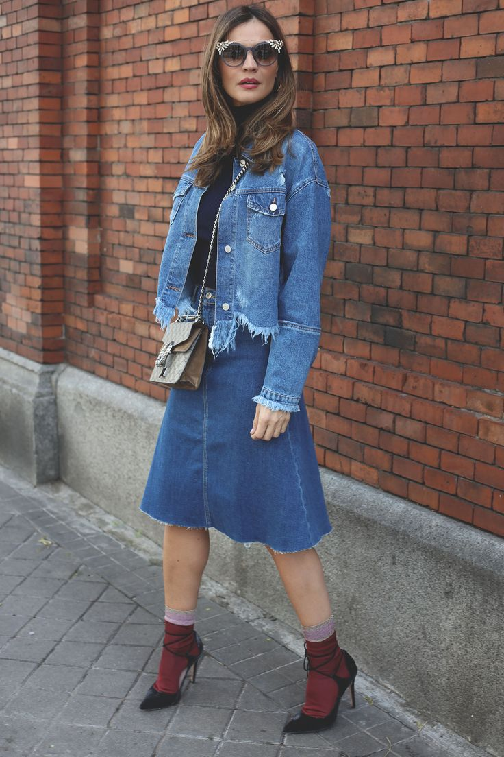 double denim looks - Lady Addict. Navy turtleneck cropped sweater+denim knee-high skirt+burgundy socks+black lace-up pumps+denim cropped jacket+taupe and brown Gucci Dionysus short shoulder bag+sunglasses. Winter To Spring Casual Outfit 2017