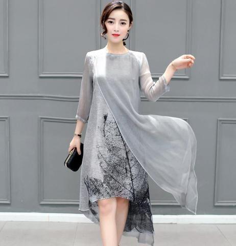 Vintage Dress Long Sleeve Floral Print Chiffon Summer Dress