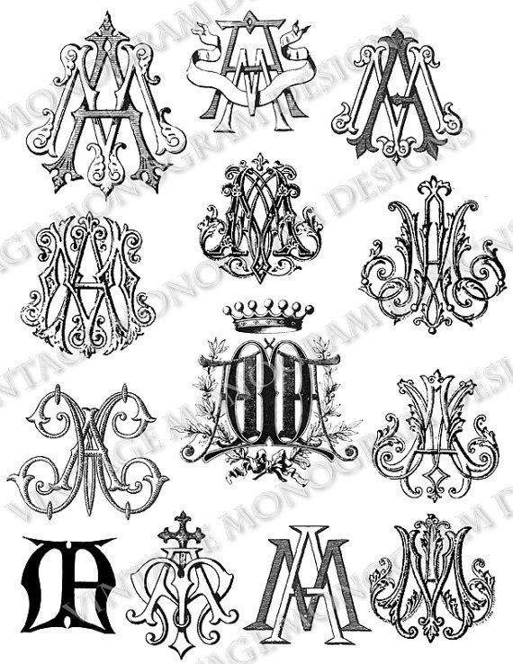 Large custom collection of vintage monograms by VintageMonogram