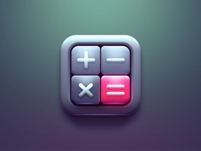 Beautiful Calculator iOS icon found on Dribbble.
