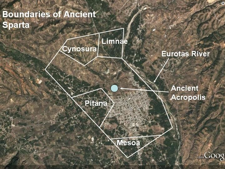 Mike Anderson's Ancient History Blog: A Map of Ancient Sparta and Its Relationship to the Modern City