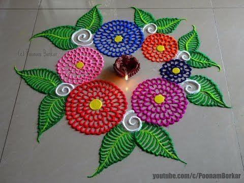 Diwali special easy multicolored flowers rangoli | Innovative Rangoli designs by Poonam Borkar - YouTube
