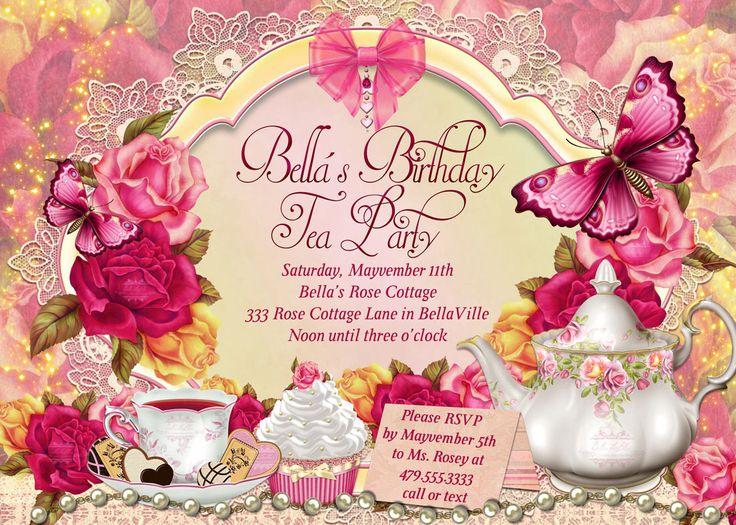 Fairy Tea Party Invitation, Birthday Tea Party, Tea Party, Garden Tea Party, Party Invitations, Tea Party by BellaLuElla on Etsy https://www.etsy.com/listing/178222401/fairy-tea-party-invitation-birthday-tea