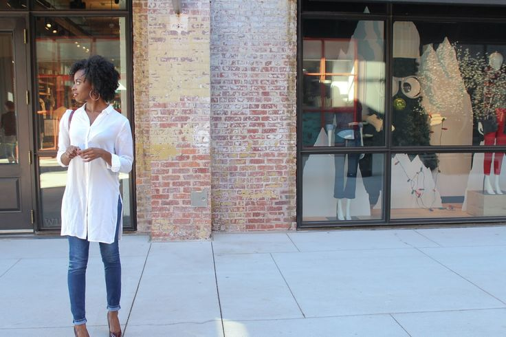 Deanna Luvs You | Wearing white button up from H&M, Abercrombie & Fitch jeans, Charlotte Russe shoes, French Connection handbag in Atlanta, GA