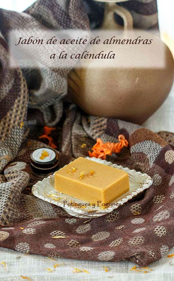 POTINGUES Y FOGONES: Jabón de aceite de almendras a la caléndula
