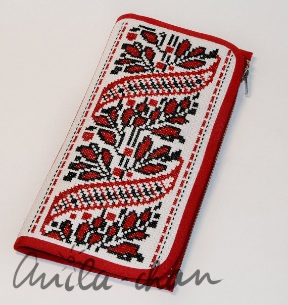 Russian hand-embroidered red wallet | Large wallet | Cross stitched big wallet | Polka dot travel wallet | Unique gift
