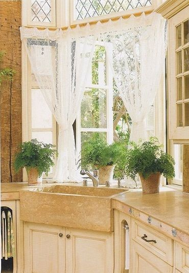 Beautiful Windows With Lace Curtains Over The Kitchen Sink Love But Prob Wouldn T Work In My Future Home Kitchens