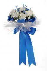 Букет для невесты №15, белый/синий (латекс, 7 роз)