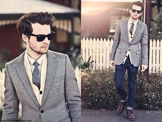 Herringbone blazer over cardigan combo: Men Clothing, Fashion Clothing, Men Style, Jeans, Suits, Men'S Fashion, Style Men, Blazers, Men Fashion Style