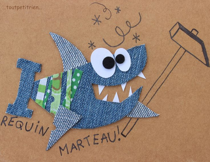 Requin marteau ! www.toutpetitrien.ch - fleurysylvie  #jeans #recycle                                                                                                                                                                                 Plus