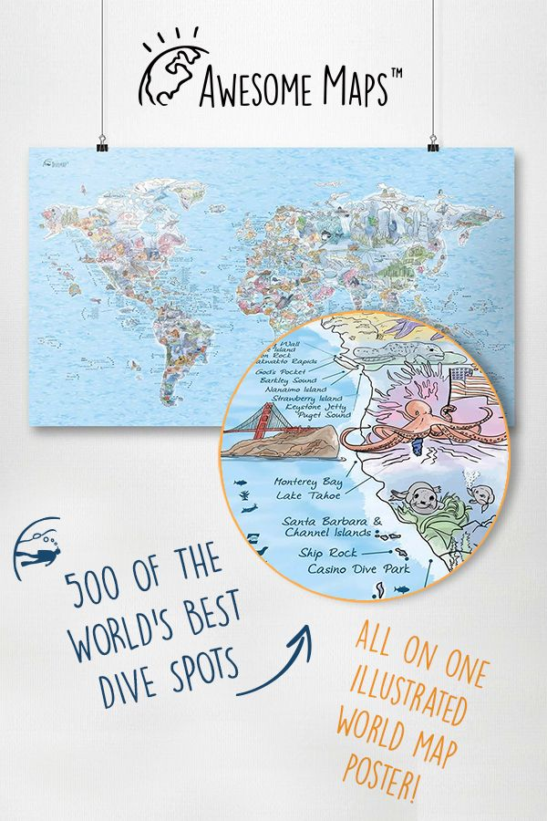 Dive Map Paper World Map Poster Map Diving