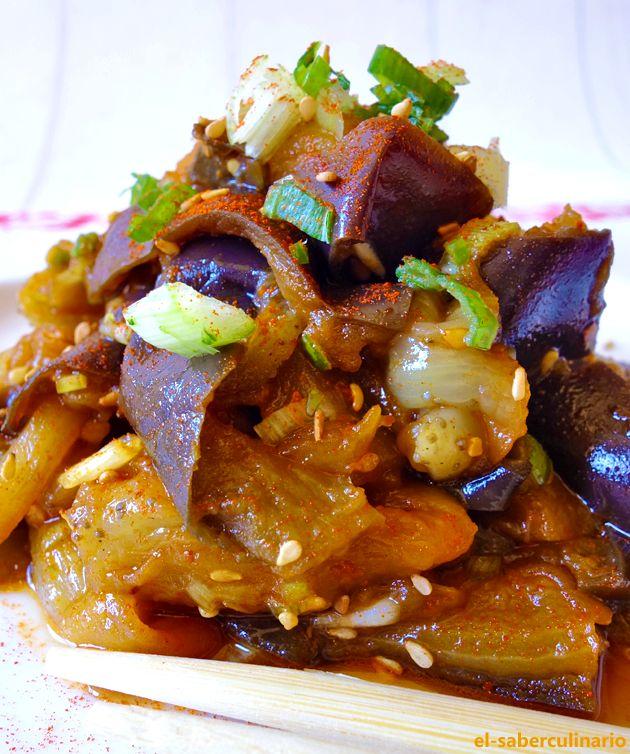 Berenjenas horneadas y marinadas en soja | Receta Coreana