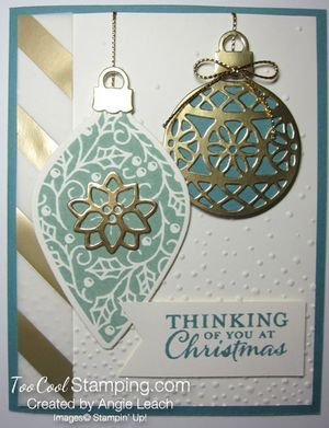 Lost Lagoon & Gold Embellished Ornaments Cards from my Countdown To Christmas class series! holidays, ornaments, Stampin' Up!, cards. #toocoolstamping
