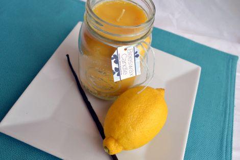 Bougie de cire d'abeille au citron et à la vanille