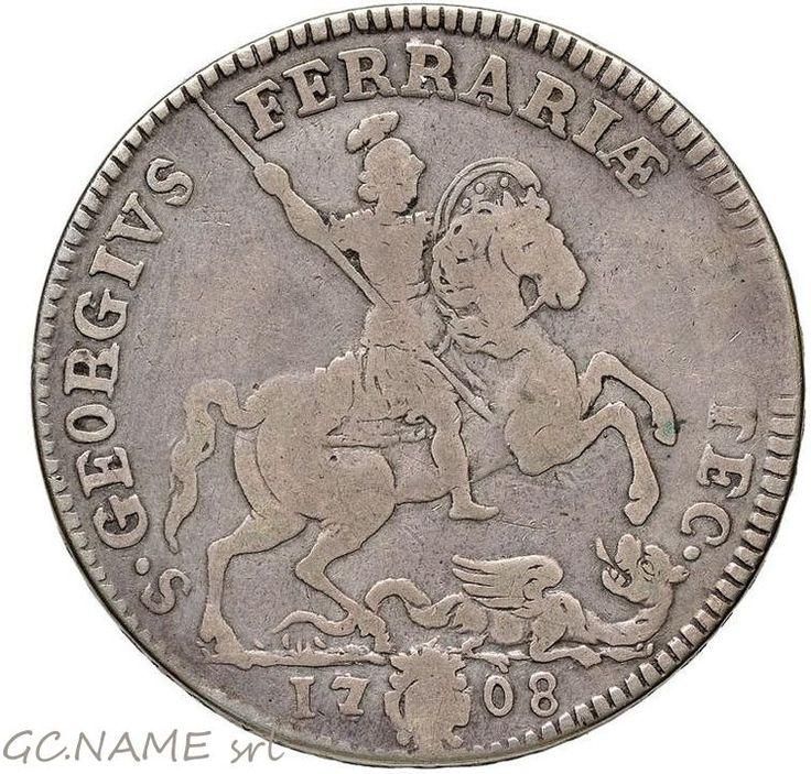 Papal States.Clement XI Piastra 1708 Anno VIII,Ferrara mint, Very rare. R4  #461