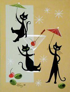 El Gato Gomez Painting Mid Century Modern Atomic 1950s Black Cat ...