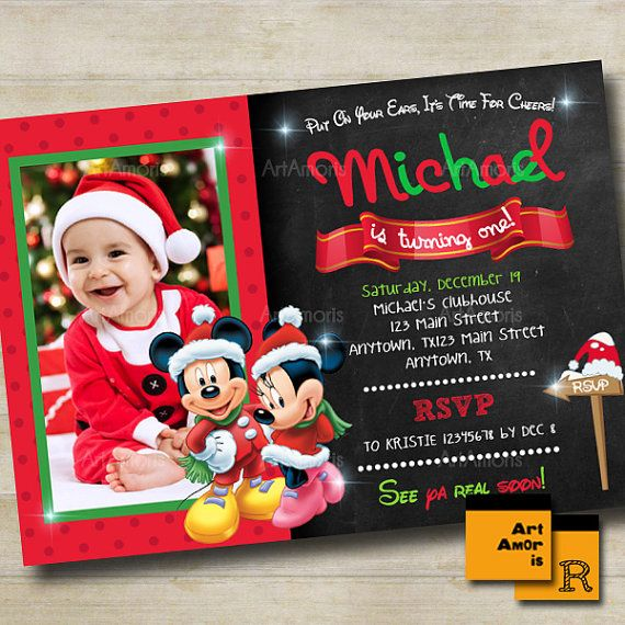 Mickey Birthday Invitation 1st Birthday 2nd 3rd by ArtAmoris