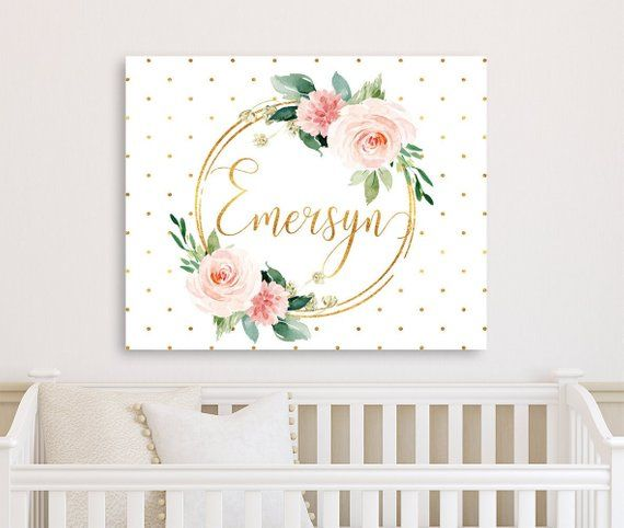 Personalized Floral Nursery Decor Pink Floral Wall Art Etsy Floral Nursery Decor Pink Floral Wall Art Canvases Grey Nursery Decor