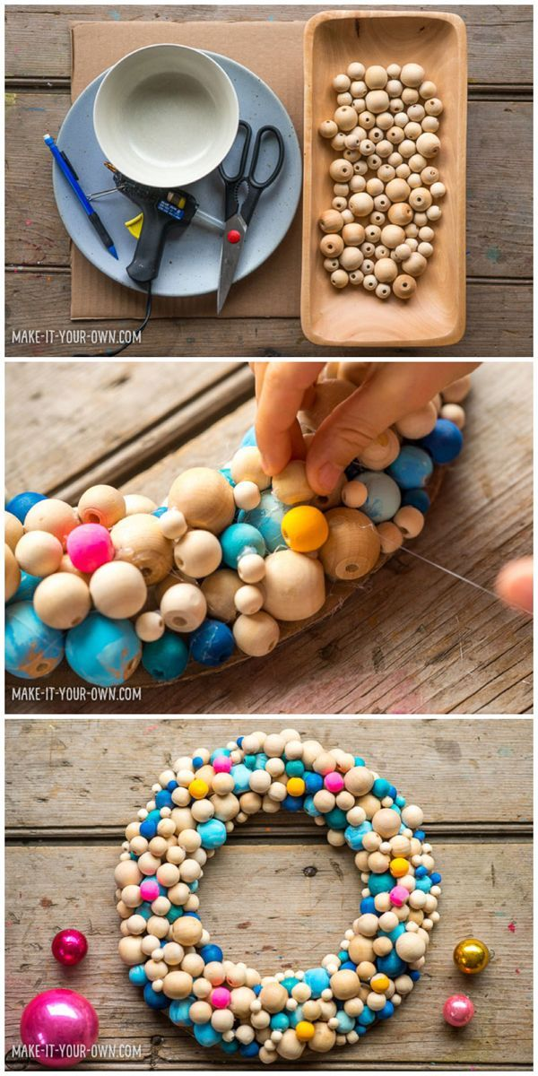 Beautiful Kid Made DIY Winter Wooden Bead Wreath. A stunning holiday decoration that's colorful and bright!