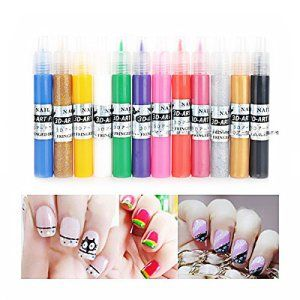 Pixnor 12 couleurs Nail stylos Gel UV acrylique conseils 3D Nail Art bricolage peinture stylo polonais: Cet article Pixnor 12 couleurs Nail…