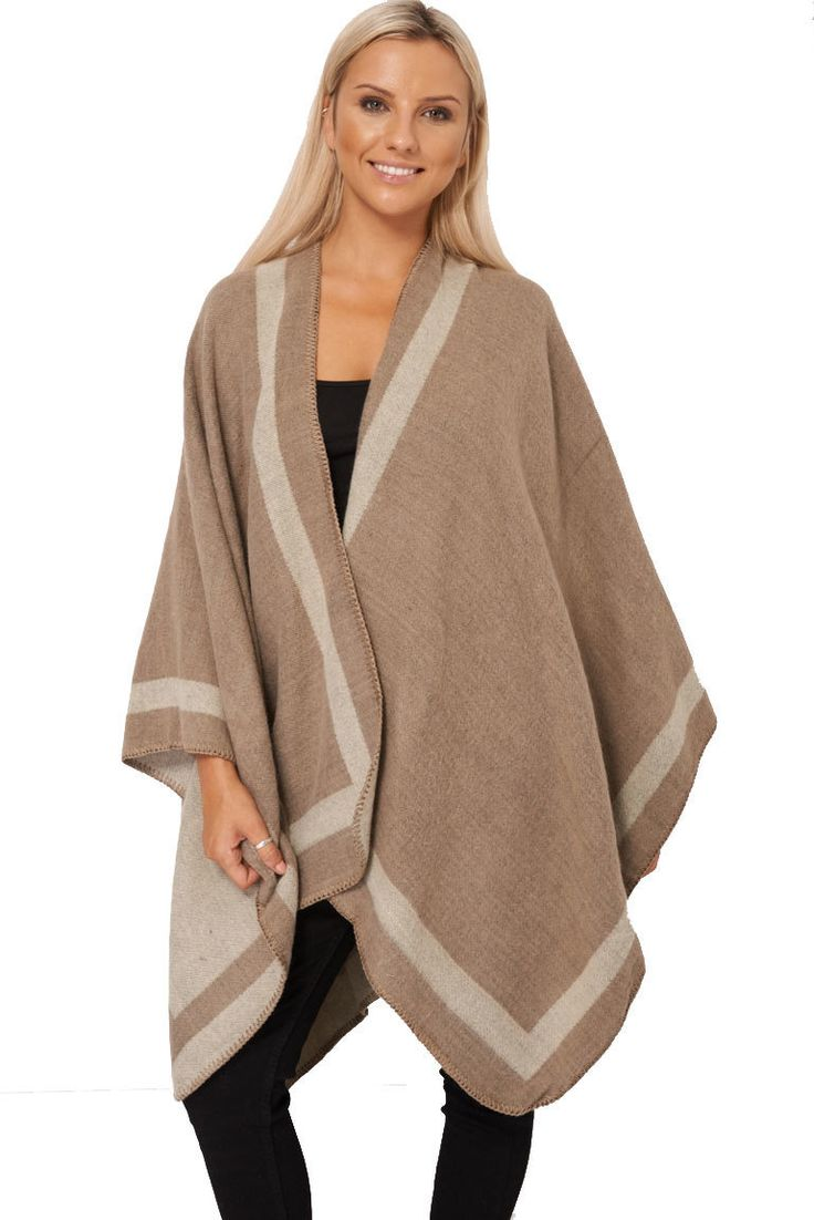 Vendbar Mocha and Beige Poncho, kr398.99