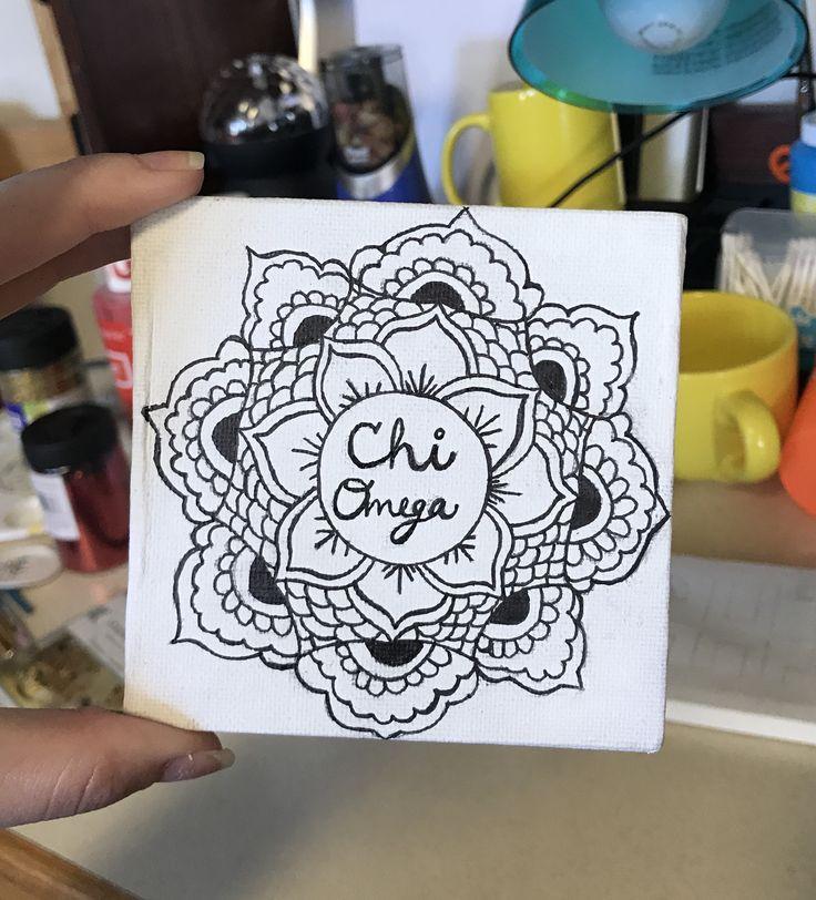#minicanvas #canvas #chiomega #chio #sorority #black #white #blackandwhite #crafts