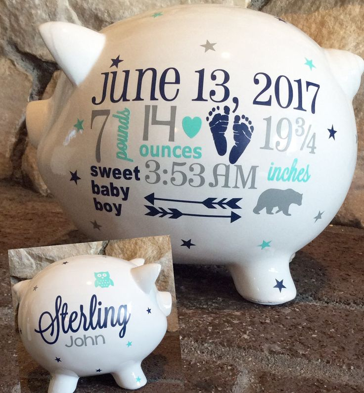 Personalized Piggy Bank, Bear & Arrow Piggy Bank, Baby Boy, Baby Girl Piggy Bank,  Baby Boy Gift,  Arrow Baby, New Baby Gift Baby Bank by BubbieRed on Etsy