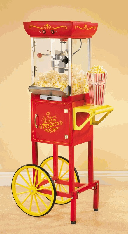 old fashioned movie time popcorn machine and cart popcorn machines popcorn maker