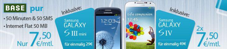 Günstige TOP Smartphones im #BASE Duo Vertrag:  ☞ Samsung #Galaxy S4 für rechnerisch 409,-EUR    ☞ #Apple #iPhone 5 für rechnerisch 529,-EUR   ☞ #Galaxy S4 mini für rechnerisch 360,- EUR