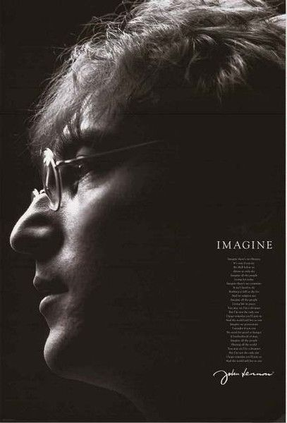 """""""Imagine"""" how great this HUGE John Lennon poster will look on your wall :) A fantastic portrait of the Beatles' frontman that includes the lyrics to his best song! Ships Super Fast! 39x55 inches. Need"""