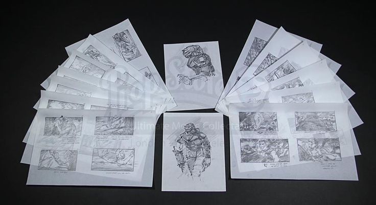 301 - Live Auction 2015 - Hand-Drawn Final Battle Storyboards & Predator Concept Artwork