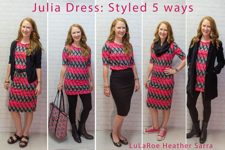 Love all the ways I can style my LuLaRoe Julia dresses! Here I am wearing 1 Julia dress styled 5 ways. Please visit my sale page for more styling tips & to buy LuLaRoe. https://www.facebook.com/groups/LuLaRoeHeatherSarra