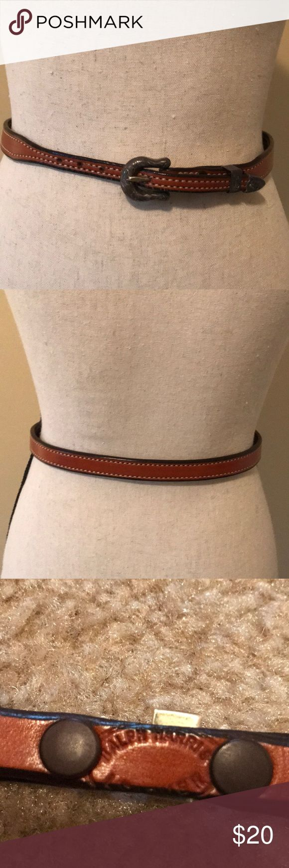 """(Leather) Western Style Belt This is a dark camel brown Ladies belt. Approximately 31.5"""" total length. Excellent vintage condition. Leather belt with sterling overlay on metal parts! Has 5 buckle holesfpr adjustment! Accessories Belts"""