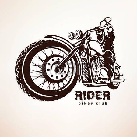 motorcycle icon: motorista, motocicleta grunge vector silueta, emblema retro y la etiqueta Vectores