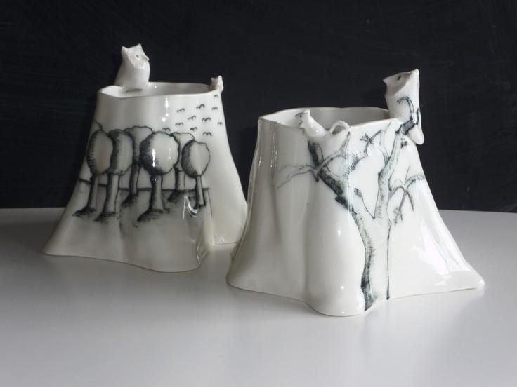 """""""Ugler i skoven"""" - vaser i keramik af Gine Preetzmann. Kig forbi standen og se de andre fine ting."""