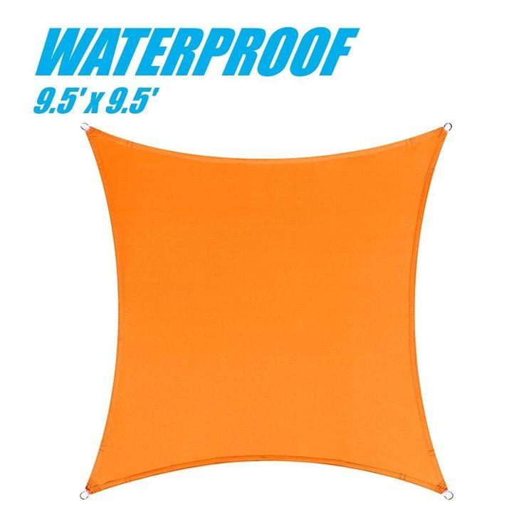 100% BLOCKAGE Waterproof 9.5' x 9.5' Sun Shade Sail Canopy Square Orange